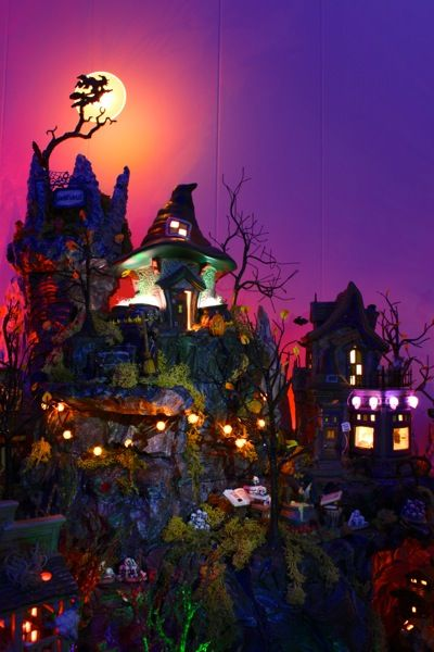 LOVE the lighting and varying heights!   Halloween Village Display / Dept 56 & Lemax Halloween / Hauntsville Village from myscaryvillage.com