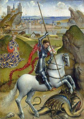 Saint George and the Dragon, Rogier van der Weyden, 1432-35. Oil on panel. National Gallery, Washington, DC