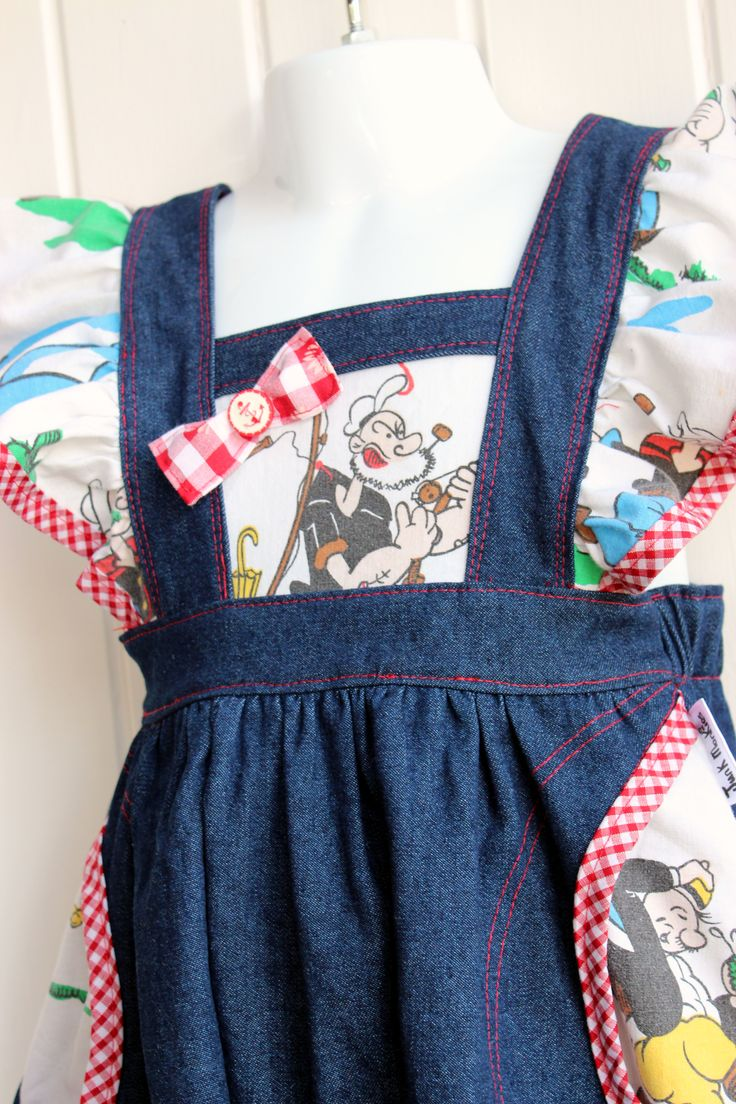 Retro Popeye Jumpsuit with flutter sleeves and pockets.
