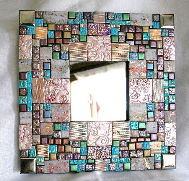 polymer clay mosaic handmade mirror