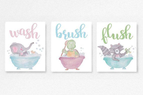 sale wash brush flush bath rules kids washroom unisex baby shower