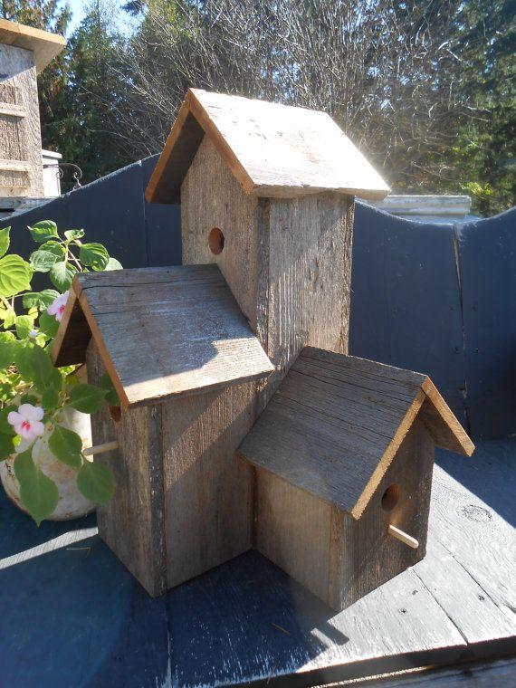 Barnwood Birdhouse Barn wood 3 plex Bird House by tawnystreasures, $99.00