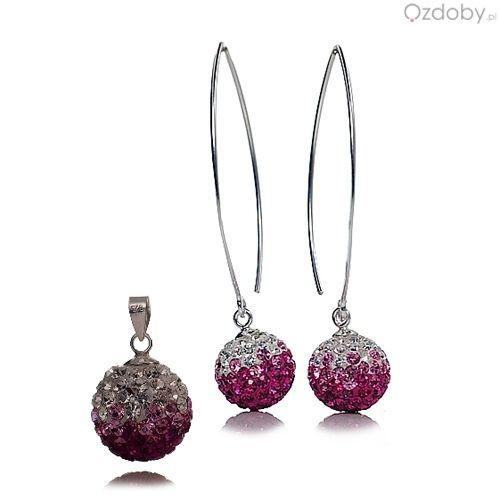 Elegancki komplet Swarowskiego: naszyjnik + kolczyki, w kolorze różowo-białym