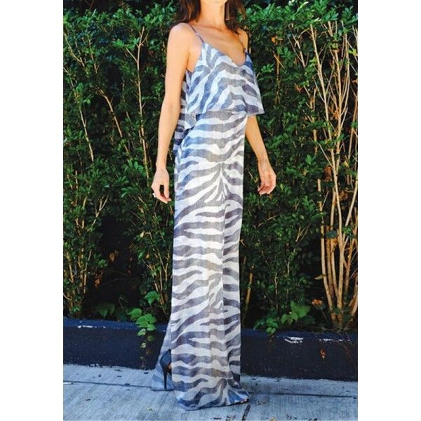 GM-Fashion Grey Patchwork Condole Belt Irregular V-neck Sleeveless Maxi Dress
