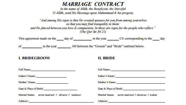 7 Marriage Contract Form Samples Free Sample Example Format