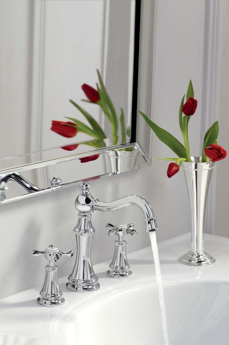 Weymouth Chrome Two Handle High Arc Bathroom Faucet Widespread Bathroom Faucet Bathroom