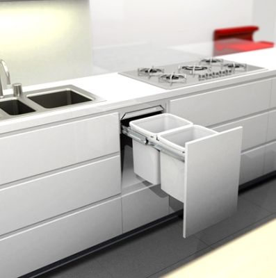 Image result for integrated kitchen recycle bins