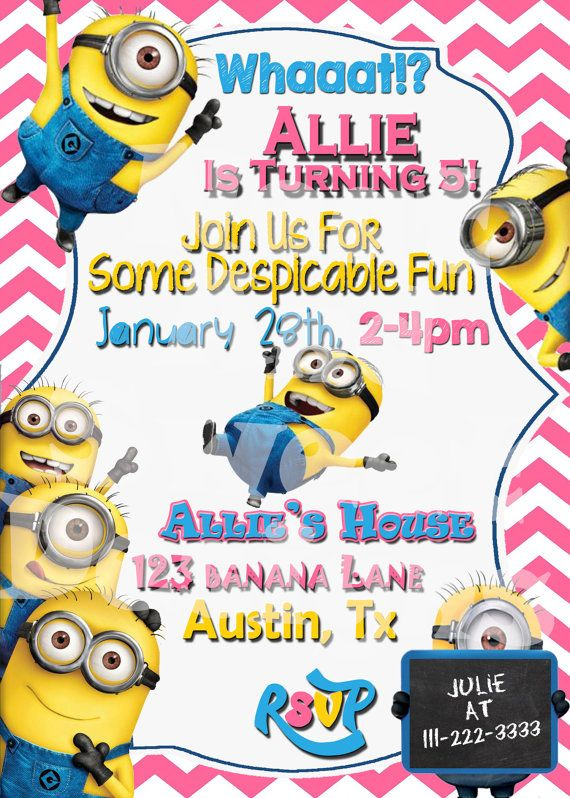 220 best goose's despicable me party!!!! images on pinterest, Party invitations