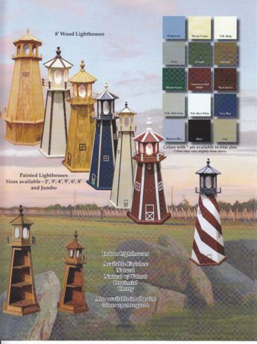 Ebay:  $578 for 6', choice of color and revolving light, $598 for 6' patriotic stars and revolving light, free shipping, Amish Crafted Lighthouse Light House Lawn Yard Ornament Wooden Lighted Hollow