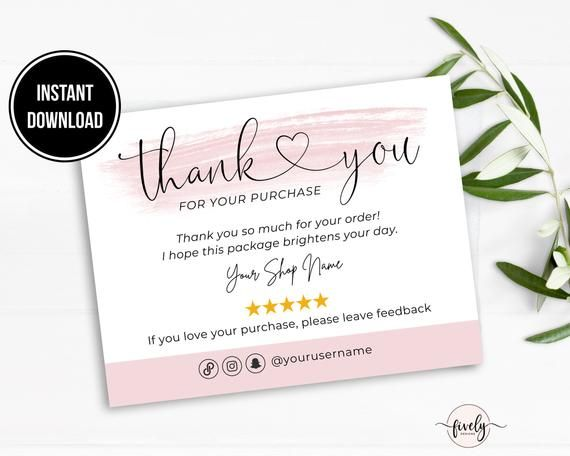 Poshmark Thank You Card Template Business Thank You Note Etsy In 2021 Thank You Card Template Business Thank You Notes Thank You Card Design