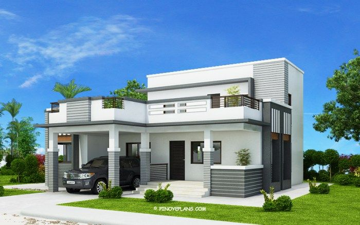 This Four Bedroom Modern House Design With Roof Deck Has A Total Floor Area Of 177 Square Meters No Small House Design House Roof Design House Designs Exterior