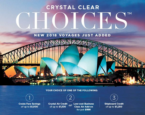 Crystal Clear Choices-When you click on the link below you'll be invited to enrol directly - instead contact me directly to book your trip and I'll ensure you get the best price and service you deserve - email me at jpringle@cruiseshipcenters.com or cell 250-588-0969