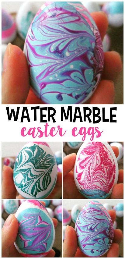 Water marble easter egg decorating using nail polish! Such a fun craft for older kids!