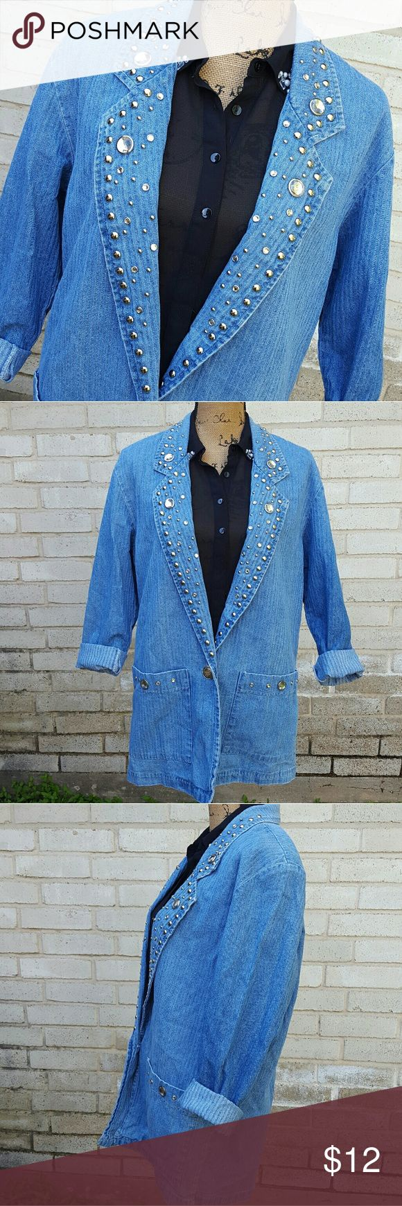 "Vintage Denim &Diamonds Funky Lapels Blazer Med Vintage denim blazer with studded and rhinestone embellished lapels. Brand is USA Bridge Sportswear Co. Made in USA. In great condition . Single button closure at waist on front.  Measurements :  Length 30 ""   20 ""across front laying flat buttoned #ravenkittystyle #vintage #denimanddiamonds #bling #rhinestones #studded #80s #80sblazer #medium #madeinusa #denimblazer #denimjacket Jackets & Coats Blazers"