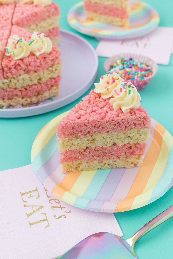 Astounding Cake Slice Rice Krispies Treats Recipe Rice Krispie Treats Birthday Cards Printable Inklcafe Filternl