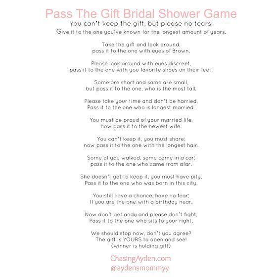Pass The Gift Bridal Shower Game Free Printable http:/chasingayden.com/ashleys-blush-&-gold-bridal-shower