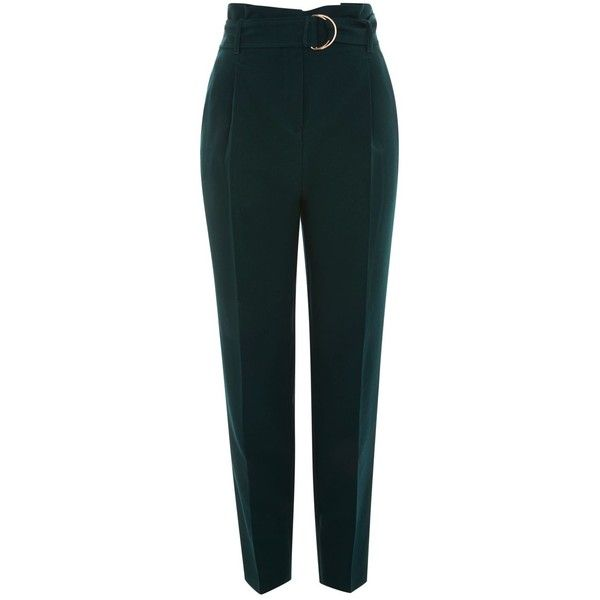 Topshop Tall Belt Paper Waist Peg Trousers (12.300 HUF) ❤ liked on Polyvore featuring pants, bottoms, topshop, forest, topshop pants, green pants, paper pants, peg pants and green trousers