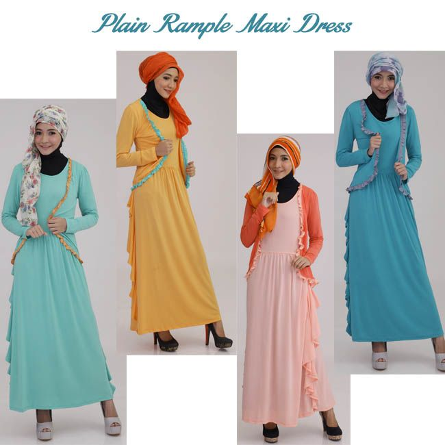 Plain Rample Maxi Dress. Available in many colors.