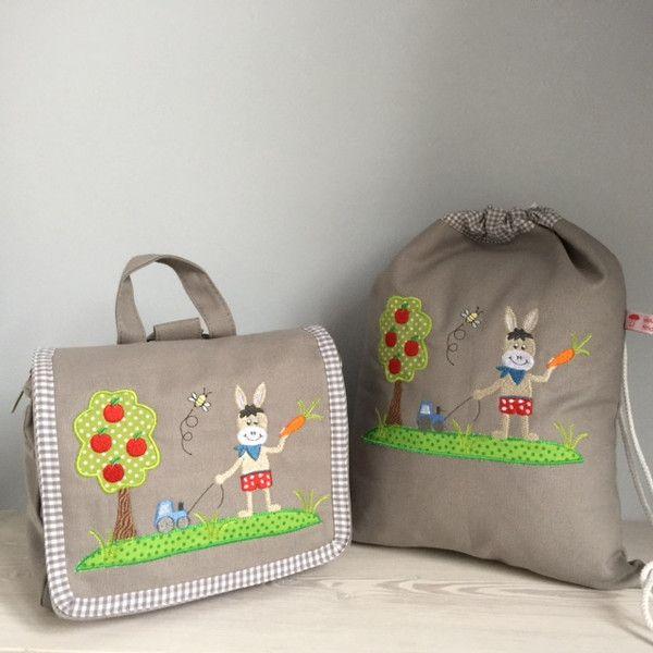 Kindergartentaschen - Traumhaftes Set Tasche u. Turnbeutel- Esel!  - ein Designerstück von Goldfisch17 bei DaWanda