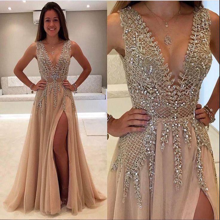 Champagne Prom Dresses,Deep V-neck Prom Dress,Sparkly Prom Dresses,Front Split Prom Dress,Evening Dresses,Long Prom Dresses,Prom Dresses 2017,Party Dresses,Modest Prom Gowns DR0043
