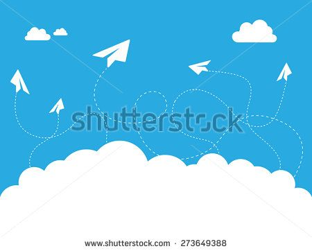 This image is a vector file representing a Paper Plane Cloud on Blue Sky Vector Design Illustration./Paper Plane Cloud on Blue Sky Vector Design Concept/Paper Plane Cloud on Blue Sky Vector