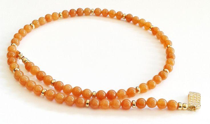 Avventurina - girocollo avventurina arancione - un prodotto unico di tizianat su DaWanda