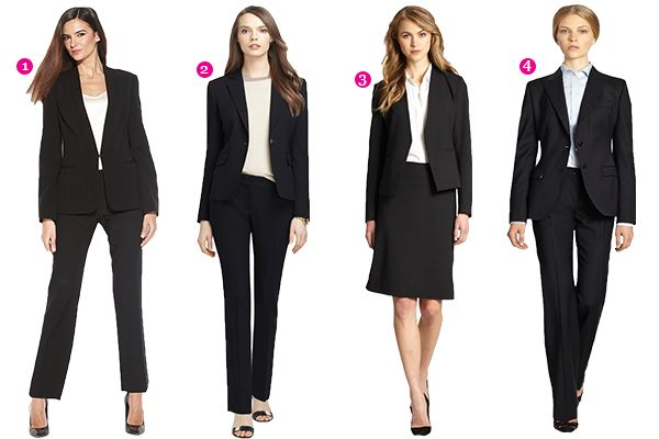 For job interview. Boring but working.... 1. Calvin Klein Black Pant Suit 2. Brooks Brothers Suit 3. Theory Skirt Suit 4. Dolce & Gabbana Dark Blue Suit