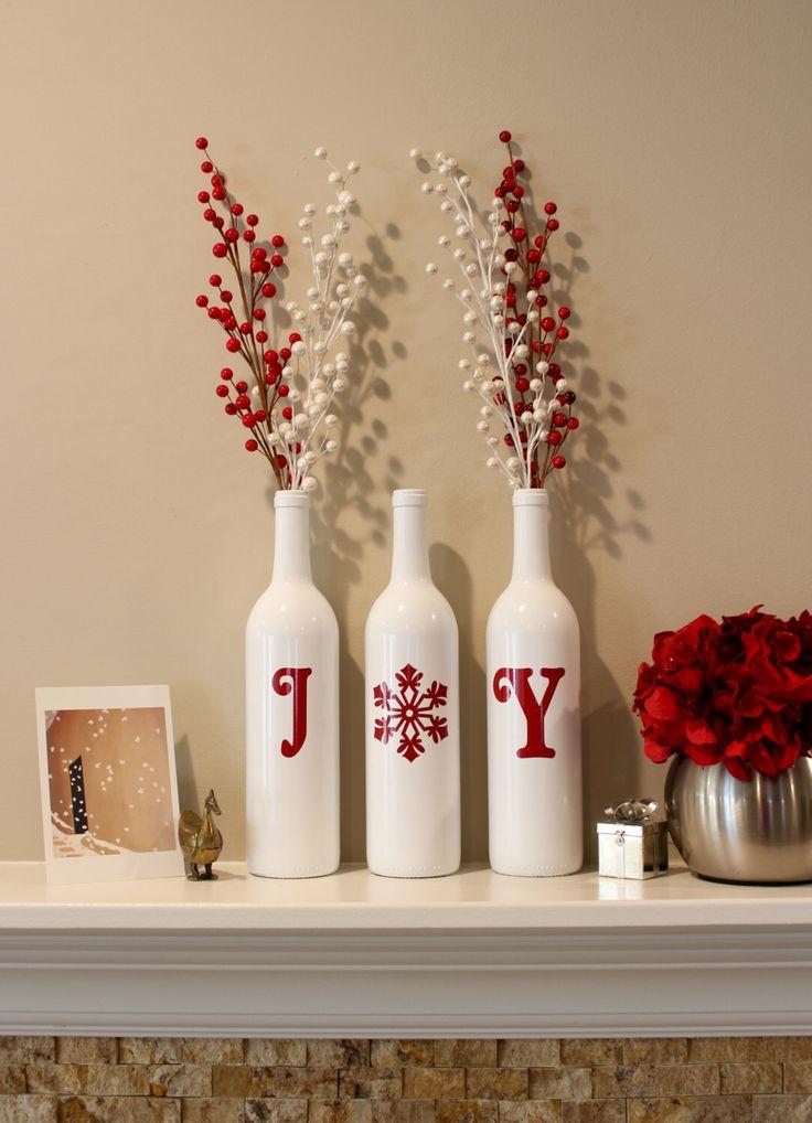 Joy Wine Bottles, Christmas Decoration, Christmas Joy Wine Bottles, Christmas Decorations, Joy, Christmas Wine Bottles by BriEllaCreations on Etsy https://www.etsy.com/listing/255270829/joy-wine-bottles-christmas-decoration