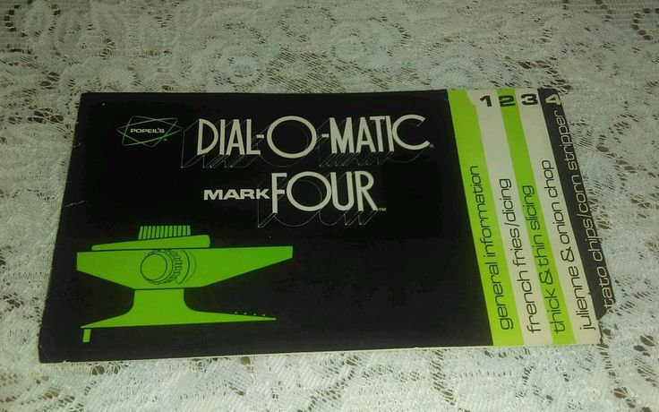 VTG POPEIL'S DIAL-O-MATIC MARK FOUR MIRACLE FOOD SLICER INSTRUCTION BOOK RECIPES