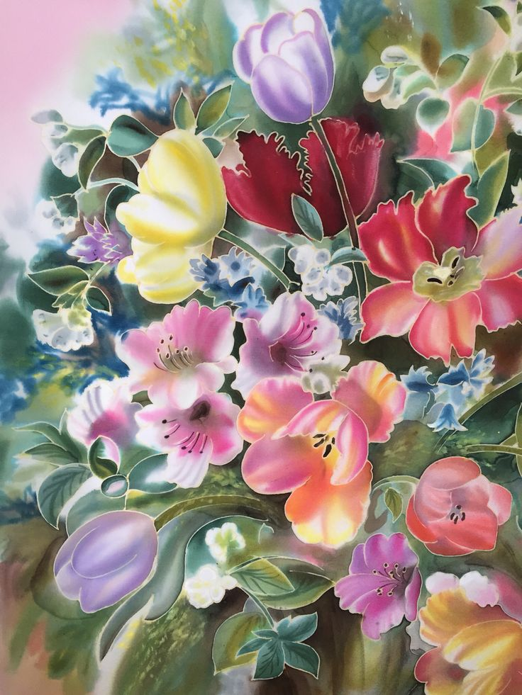 """Summer breath "", Silk, painting"