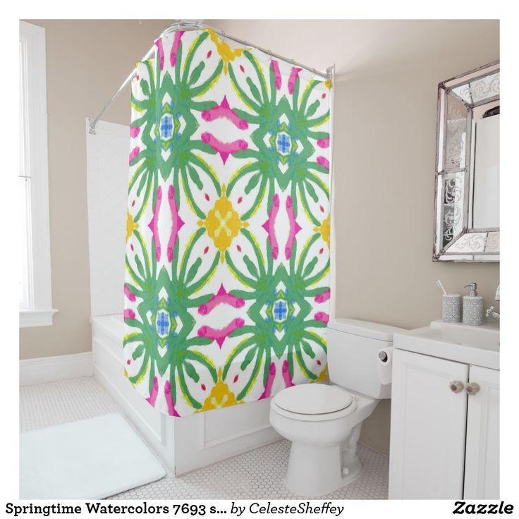 Springtime Watercolors 7693 shower curtain