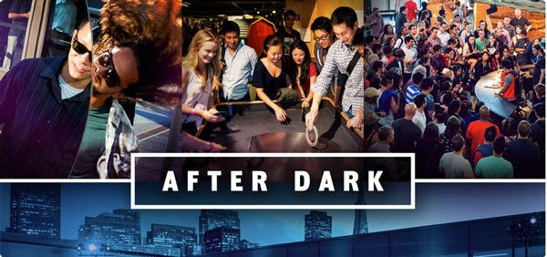 After Dark on Thursday nights at the Exploratorium. I loved that place when I was little! I imagine that I would enjoy it more at night, without the kids there!