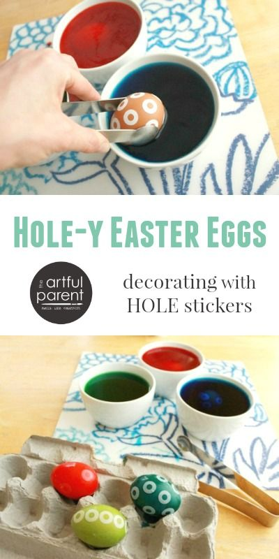 Making Hole-y Easter Eggs with a Sticker Resist Easter Egg Decorating Technique