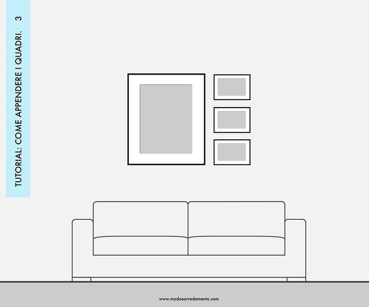 Decorare le pareti del soggiorno con foto e quadri: composizione 3 - idee da copiare.