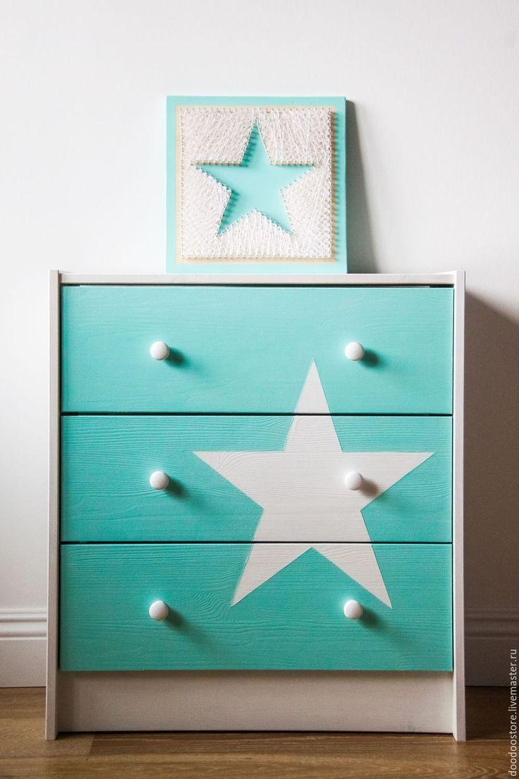 """Купить Комод и панно """"Звезды"""" мята - мятный цвет, белый, детская комната, детская, звезды"""