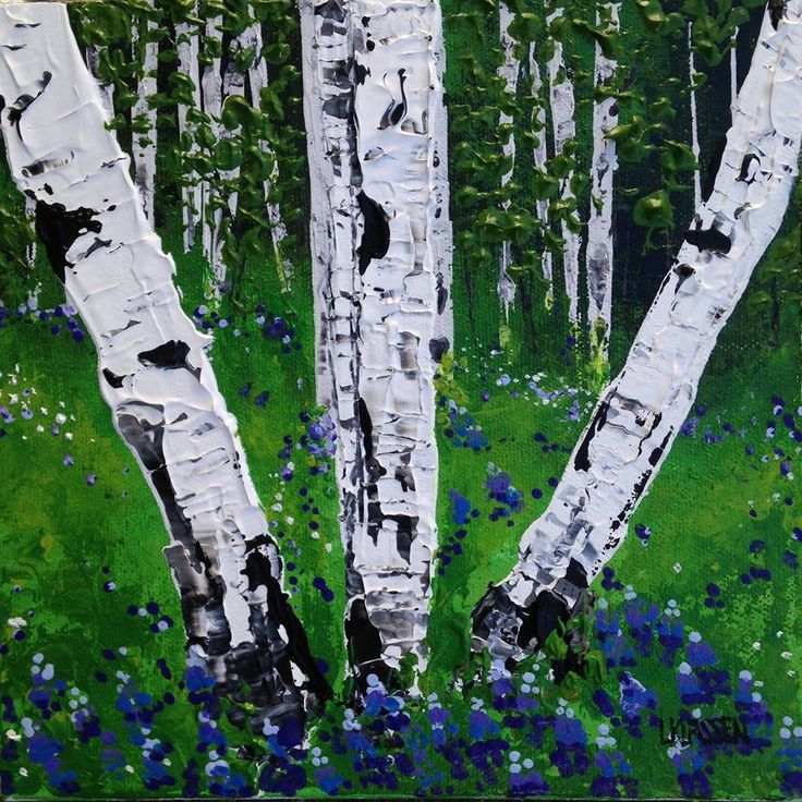 """Purple Lupines and Birches, Acrylic on canvas, 8"""" x 8"""""""