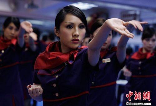 Flight attendants Learn Wing Chun Kung-Fu. China