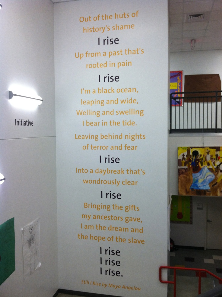 the various feelings shown by maya angelou in the poem still i rise As the author, maya angelou has rise despite all the bad and painful that  poets  write feelings of racism in still i rise in harlem by langston.
