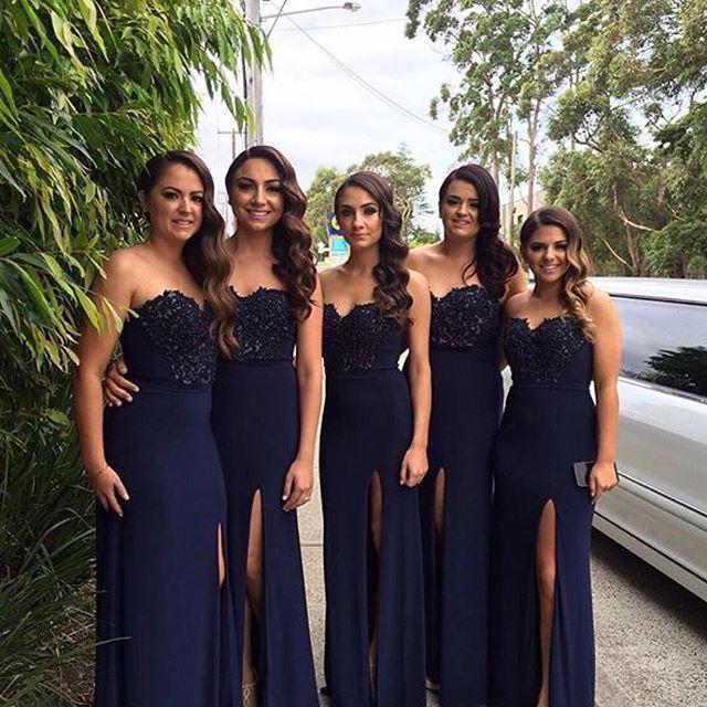 Aliexpress.com: Comprar Azul marino dama de Honor vestidos 2016 Vestido Madrinha encaje bordado envoltura del amor Side dividir gasa dama de Honor Vestido de vestidos de oro fiable proveedores en Shasha Zhu's store