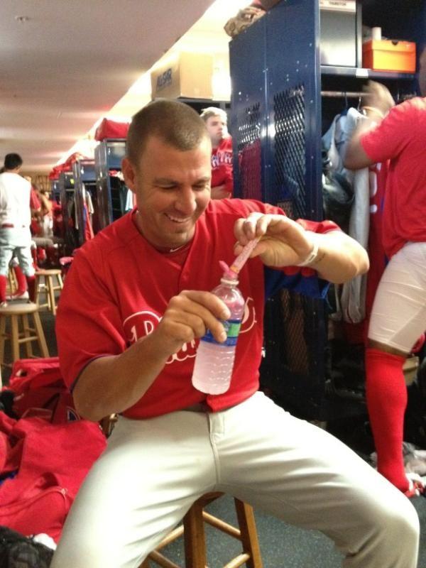 Kevin Frandsen of the Phillies enjoys his Pink Lemonade Zipfizz!