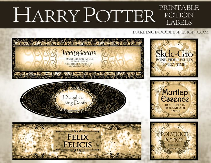 Harry Potter Potion Labels Sepia