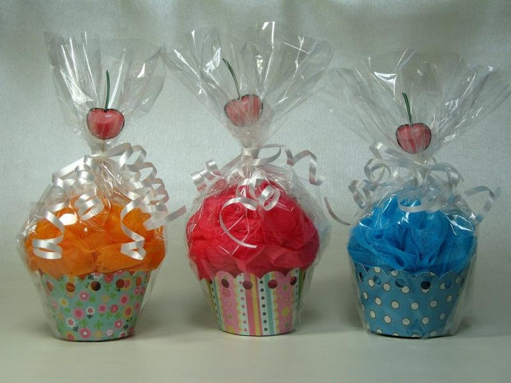 loofa cupcakes! MOPS welcome gifts. Maybe in a clear tumbler cup, shower salts, loofa, a red bath bead on top, celophaned and bowed.
