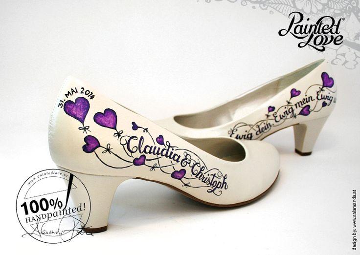 Professionelle qualitative Schuhbemalung nach Kundenwunsch. Persönliche Elemente werden am Schuh per Hand bemalt. 100% wasserfest. Ein besonderes Mode-Accessoire u einzigartiges Highlight sowie Hingucker zu deinem Hochzeitsoutfit! #Schuhe #paintedlove #Brautschuhe #bride #braut #hochzeitsschuhe #Damenschuhe #brautmode #mode #ido #pumps #hochzeit #hochzeitsfeier #handpainted #handbemalt #painted #love #farbig #bemalung #luftballon #herzluftballon #spruch #tattoo #ewigkeit #Gabor