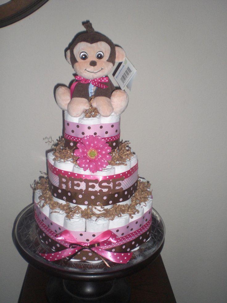 baby shower diaper cakes for girls | Monkey Girl Diaper Cake Baby Shower Centerpieces Gift other sizes too