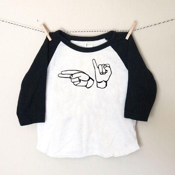 ASL Black & White Toddler Raglan Tshirt - American Sign Language Baby - Sign Language Toddler Tshirt - Little Boys Baseball Tee