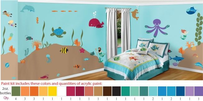 Paint kit for underwater ocean sea wall stencils acrylic for Baby mural ideas