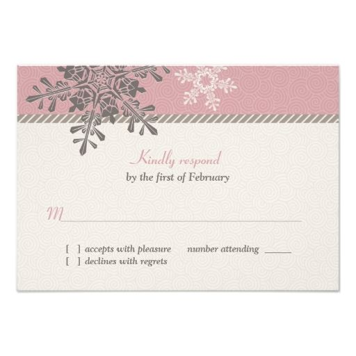 Pink Ivory Snowflake Winter Wedding Reply Card Personalized Announcement