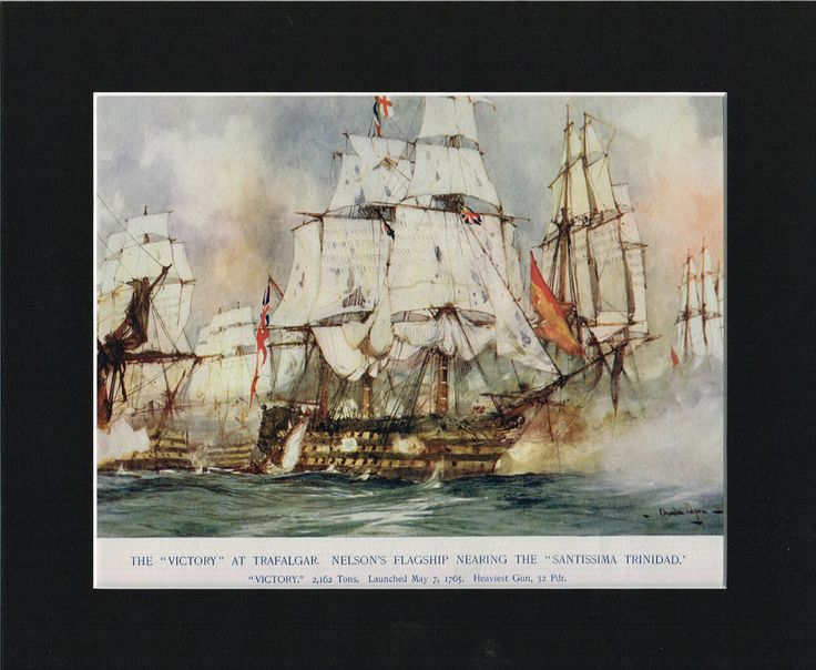 The Victory At Trafalgar, Nearing Santissima Trinidad 12 x10  Mounted Ship Print