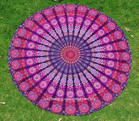 Round Mandala Tapestry Wall Hanging Towel Yoga Mat Tapestry Indian Beach Throw... Love the colours on this one