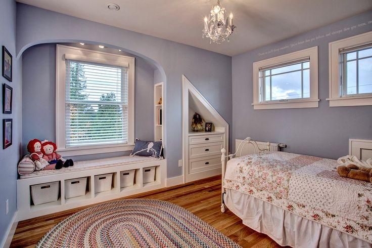 Craftsman Kids Bedroom with Built-in bookshelf, Hillsdale Ruby Metal Bed, Hardwood floors, Chandelier, Window seat